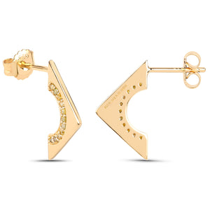 LoveHuang 0.16 Carats Genuine Yellow Diamond (I-J, I2-I3) Arrowhead Earrings Solid .925 Sterling Silver With 18KT Yellow Gold Plating