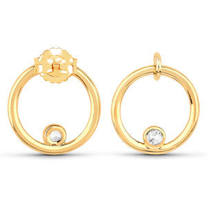 LoveHuang 0.14 Carats Genuine White Topaz Minimalist O Earrings Solid .925 Sterling Silver With 18KT Yellow Gold Plating