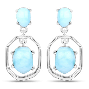 LoveHuang 4.32 Carats Genuine Larimar Window Earrings Solid .925 Sterling Silver With Rhodium Plating