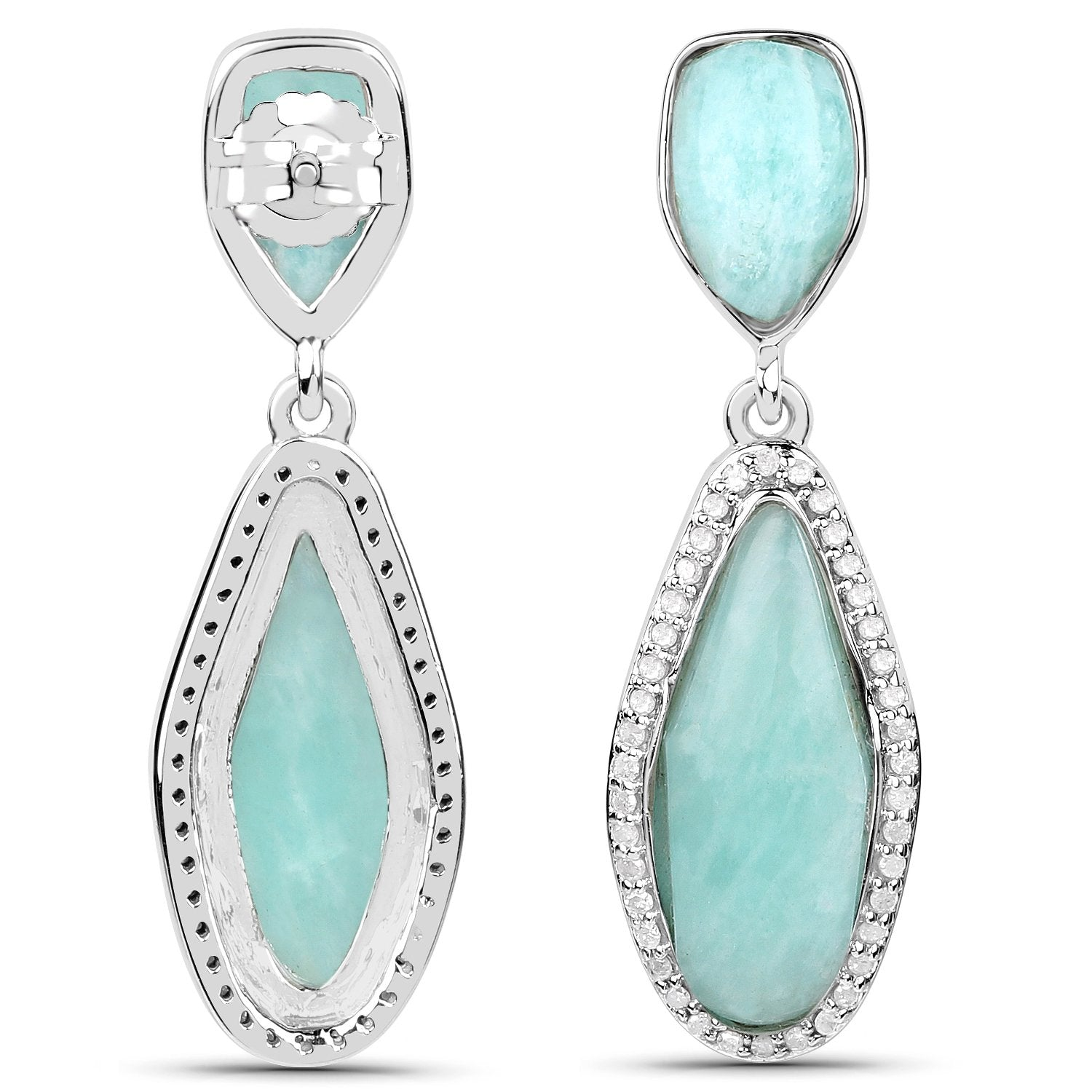 LoveHuang 13.66 Carats Genuine Amazonite and White Topaz Teardrop Earrings Solid .925 Sterling Silver With Rhodium Plating