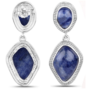LoveHuang 14.44 Carats Genuine Blue Aventurine Grain Dangle Earrings Solid .925 Sterling Silver With Rhodium Plating