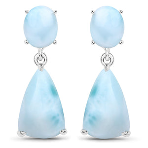 LoveHuang 10.39 Carats Genuine Larimar Dangle Earrings Solid .925 Sterling Silver With Rhodium Plating