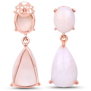 LoveHuang 12.68 Carats Genuine Pink Opal Dangle Earrings Solid .925 Sterling Silver With 18KT Rose Gold Plating