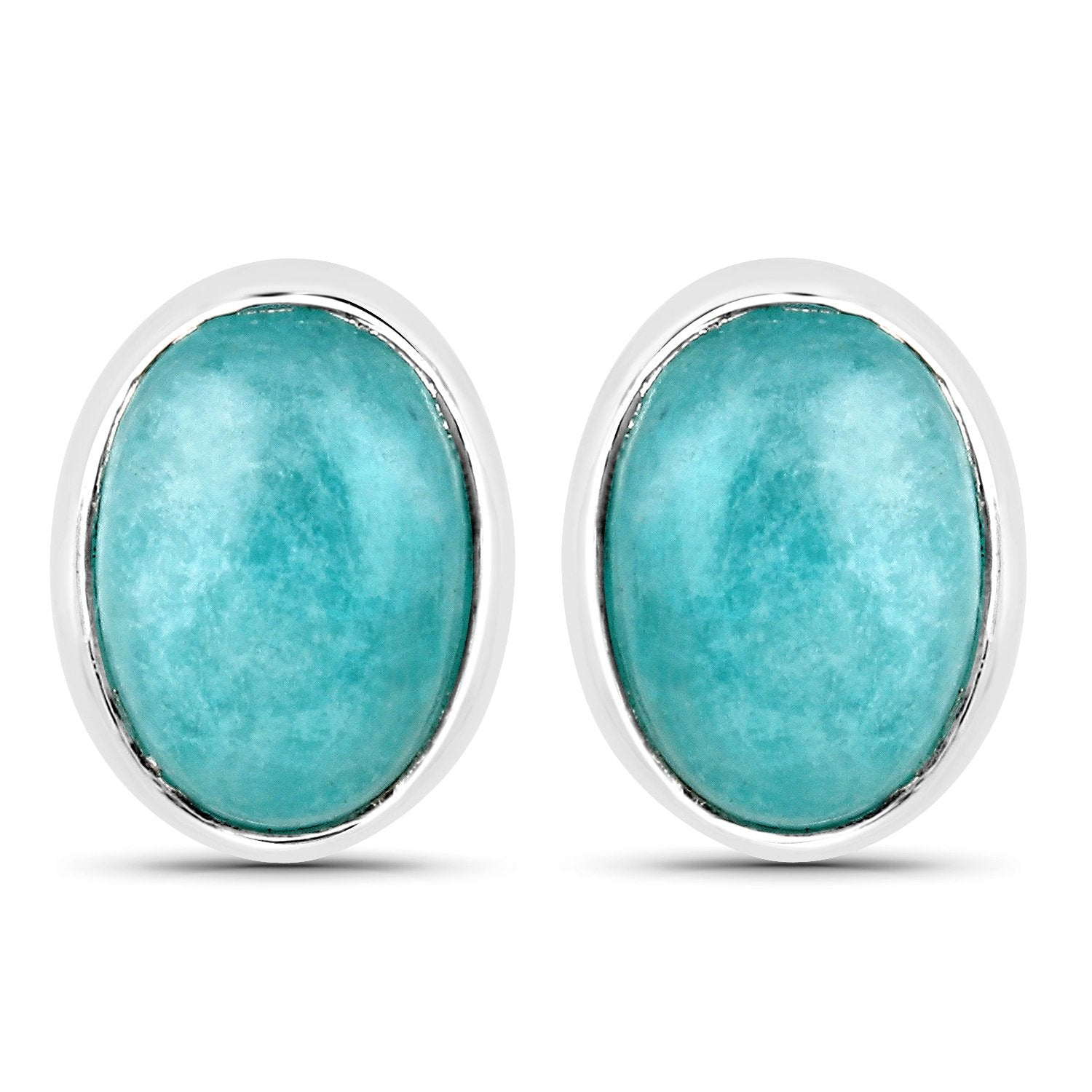 LoveHuang 1.53 Carats Genuine Amazonite Oval Stud Earrings Solid .925 Sterling Silver With Rhodium Plating