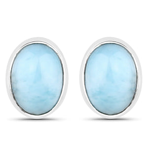 LoveHuang 1.80 Carats Genuine Larimar Oval Stud Earrings Solid .925 Sterling Silver With Rhodium Plating