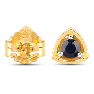 LoveHuang 0.22 Carats Genuine Blue Sapphire Triangle Stud Earrings Solid .925 Sterling Silver With 18KT Yellow Gold Plating