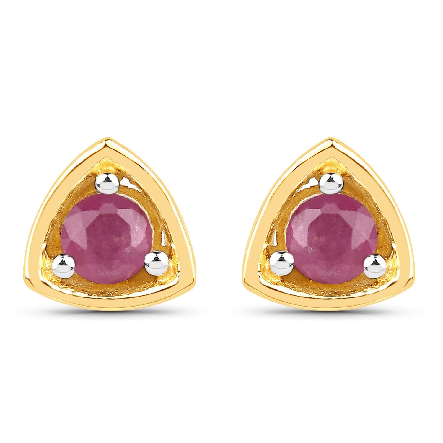 LoveHuang 0.23 Carats Genuine Thai Ruby Triangle Stud Earrings Solid .925 Sterling Silver With 18KT Yellow Gold Plating