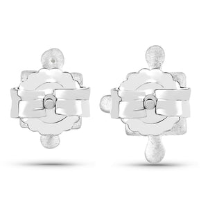LoveHuang 0.01 Carats Genuine White Diamond (I-J, I2-I3) Minimalist Puzzle Earrings Solid .925 Sterling Silver With Rhodium Plating, Matte Finish