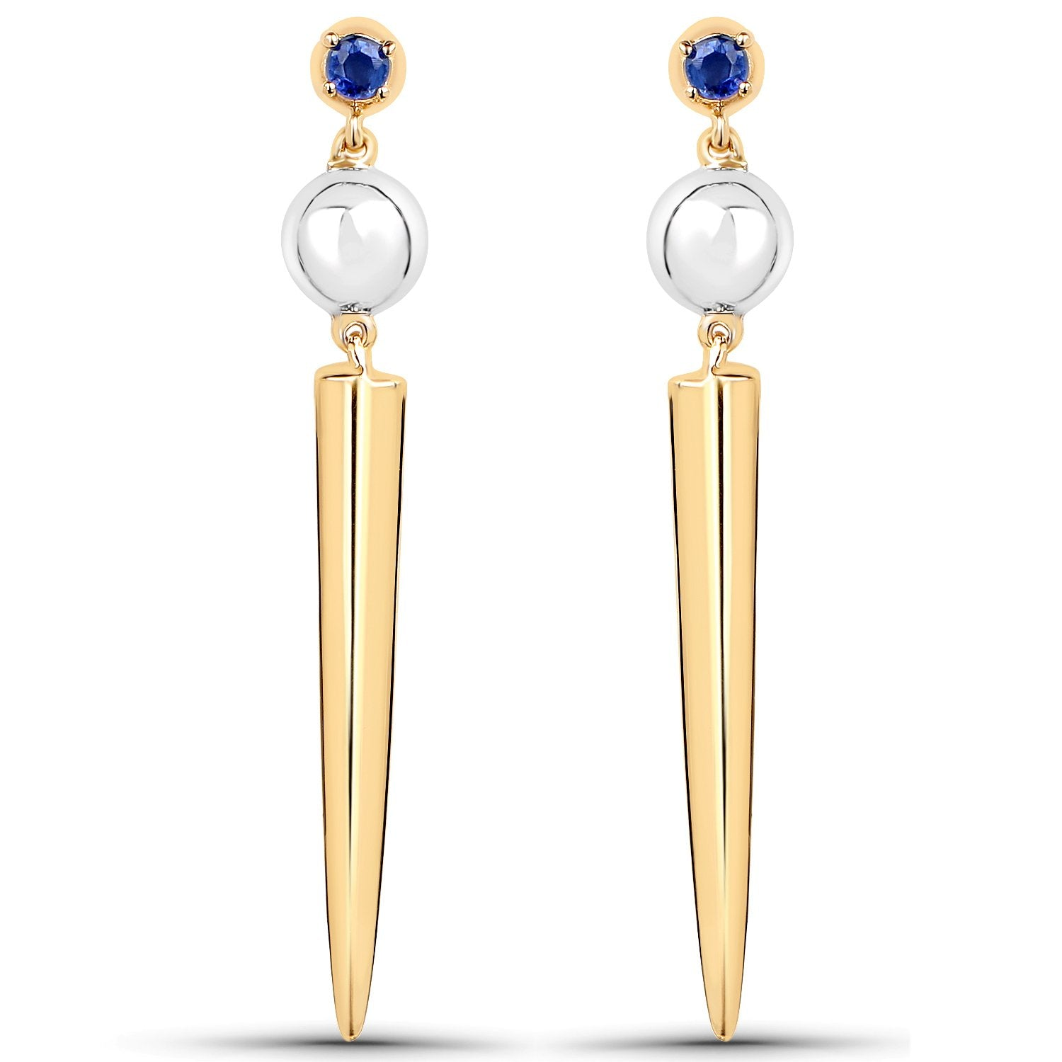 LoveHuang 0.13 Carats Genuine Kyanite Bullet Earrings Solid .925 Sterling Silver With 18KT Yellow Gold Plating