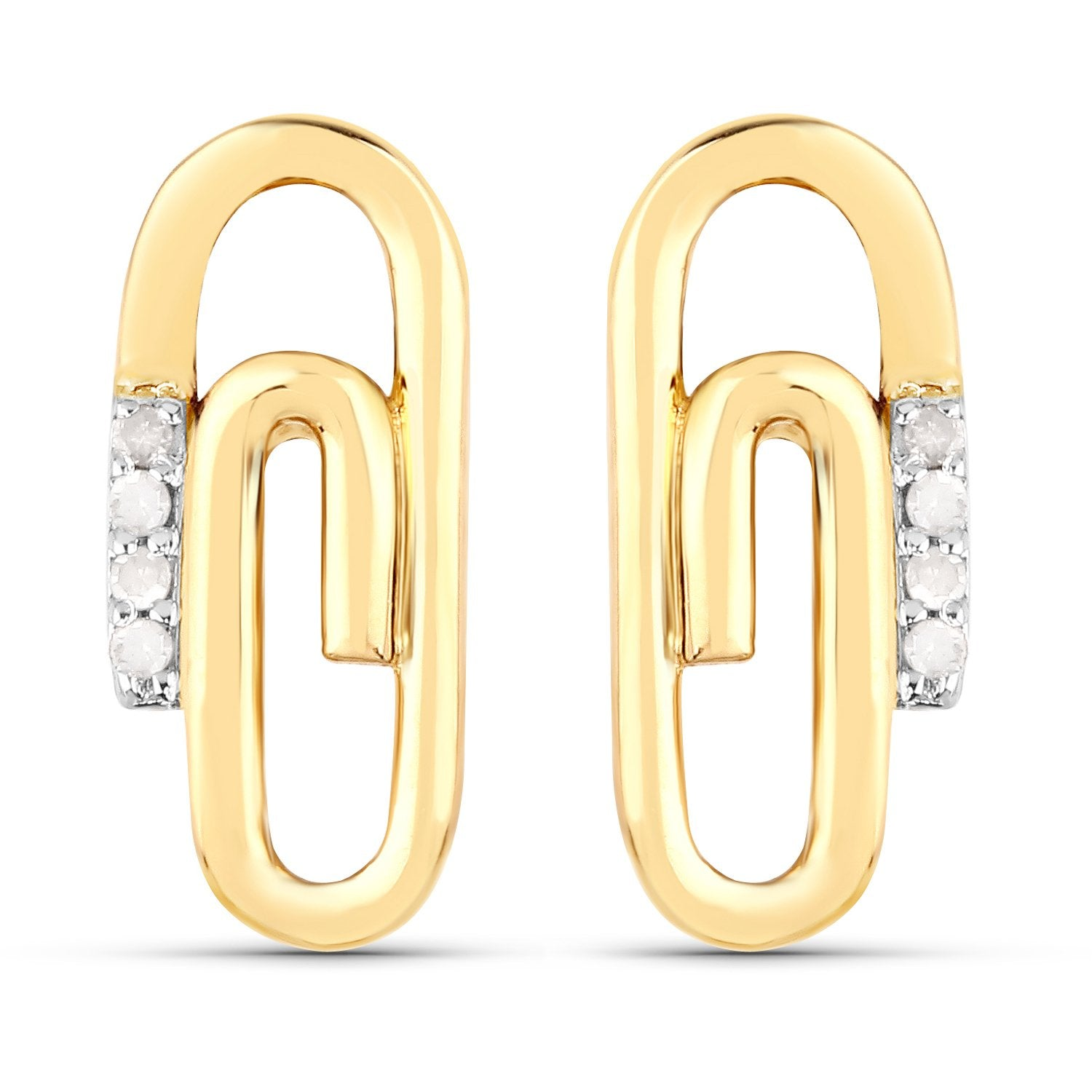 LoveHuang 0.04 Carats Genuine White Diamond (I-J, I2-I3) Paperclip Stud Earrings Solid .925 Sterling Silver With 18KT Yellow Gold Plating