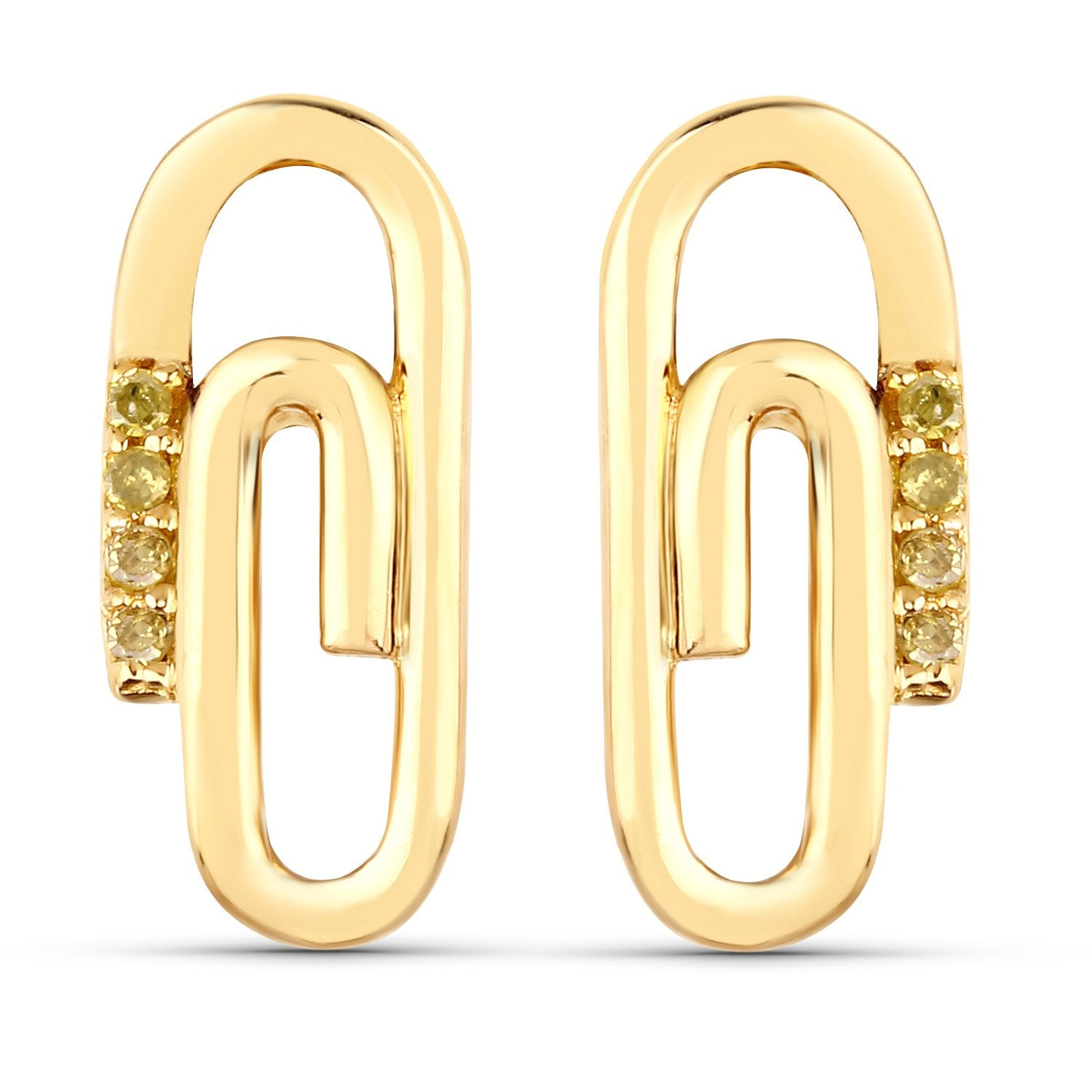 LoveHuang 0.04 Carats Genuine Yellow Diamond (I-J, I2-I3) Paperclip Stud Earrings Solid .925 Sterling Silver With 18KT Yellow Gold Plating