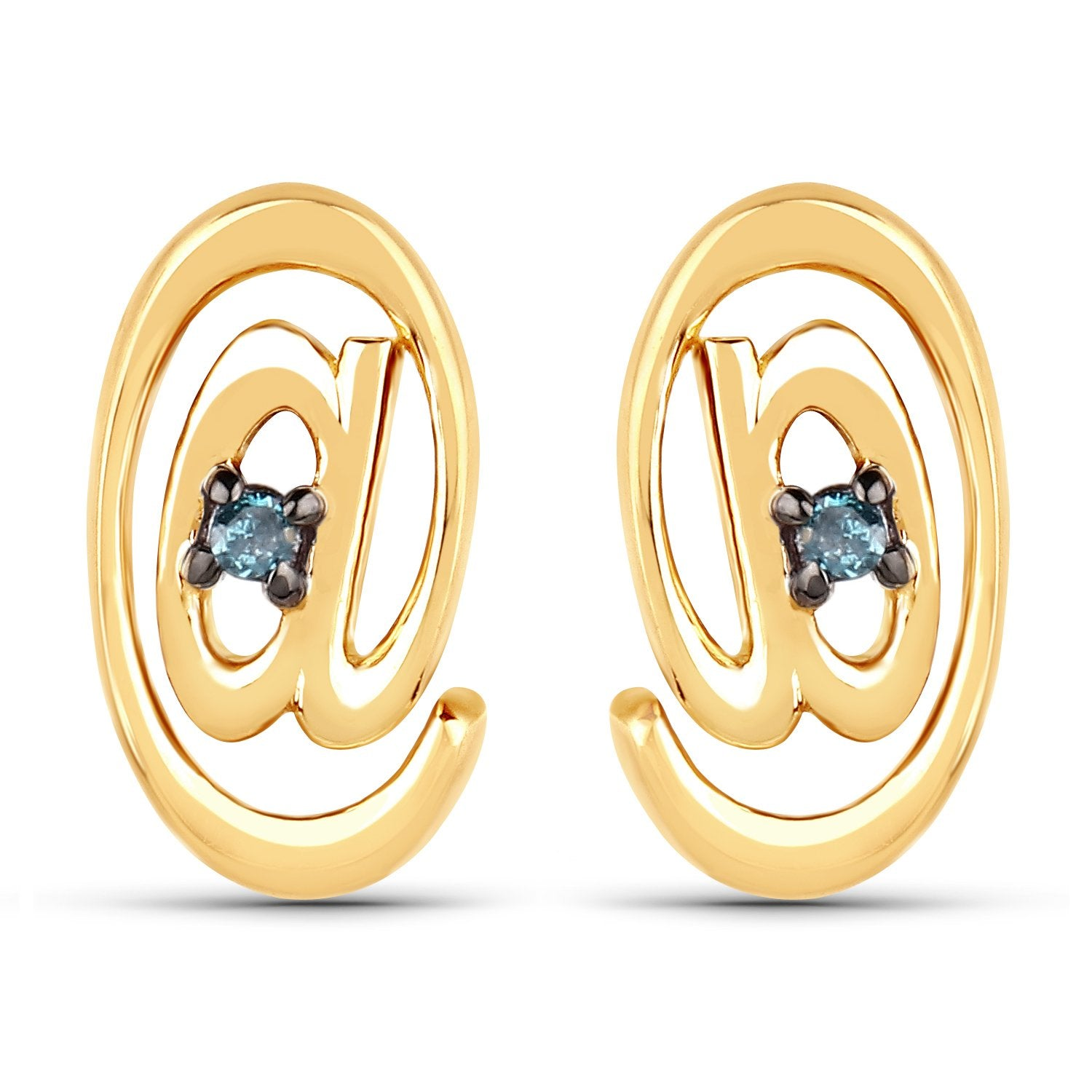 LoveHuang 0.01 Carats Genuine Blue Diamond (I-J, I2-I3) At Me Stud Earrings Solid .925 Sterling Silver With 18KT Yellow Gold Plating