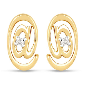 LoveHuang 0.01 Carats Genuine White Diamond (I-J, I2-I3) At Me Stud Earrings Solid .925 Sterling Silver With 18KT Yellow Gold Plating