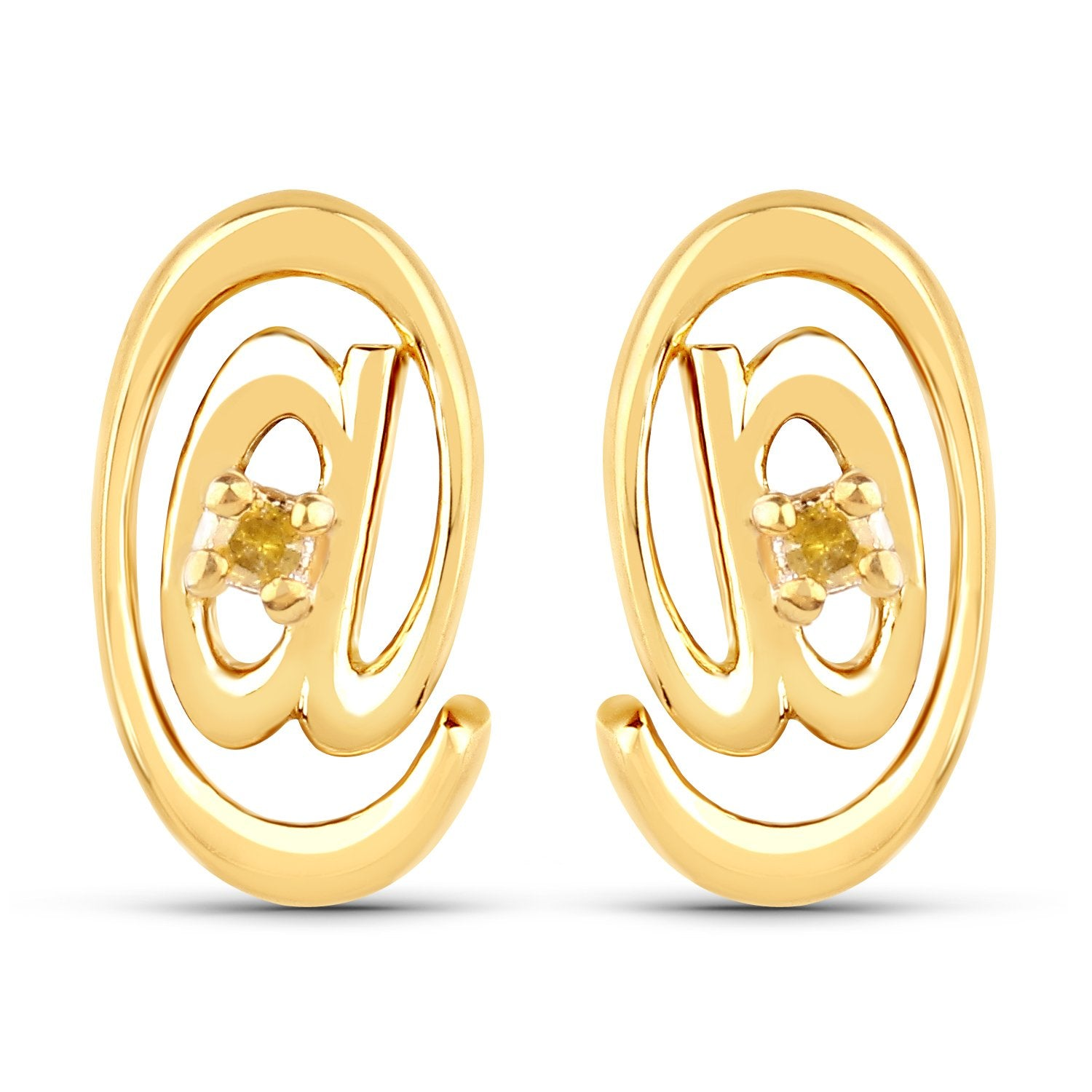 LoveHuang 0.01 Carats Genuine Yellow Diamond (I-J, I2-I3) At Me Stud Earrings Solid .925 Sterling Silver With 18KT Yellow Gold Plating
