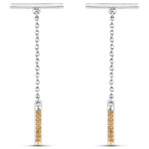 LoveHuang 0.08 Carats Genuine Yellow Diamond (I-J, I2-I3) Swing Bar Earrings Solid .925 Sterling Silver With Rhodium Plating