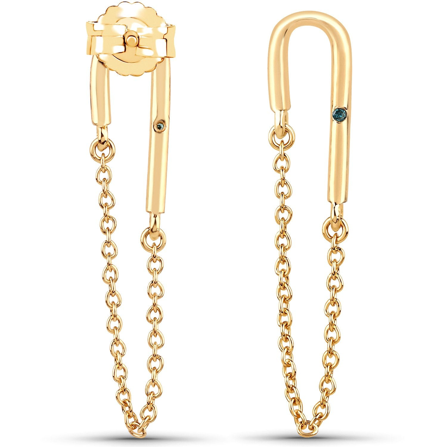 LoveHuang 0.01 Carats Genuine Blue Diamond (I-J, I2-I3) Dangling Chain Earrings Solid .925 Sterling Silver With 18KT Yellow Gold Plating