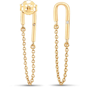 LoveHuang 0.01 Carats Genuine White Diamond (I-J, I2-I3) Dangling Chain Earrings Solid .925 Sterling Silver With 18KT Yellow Gold Plating