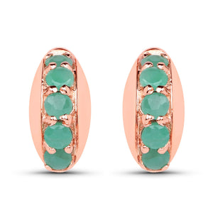 LoveHuang 0.27 Carats Genuine Emerald Stud Earrings Solid .925 Sterling Silver With 18KT Rose Gold Plating