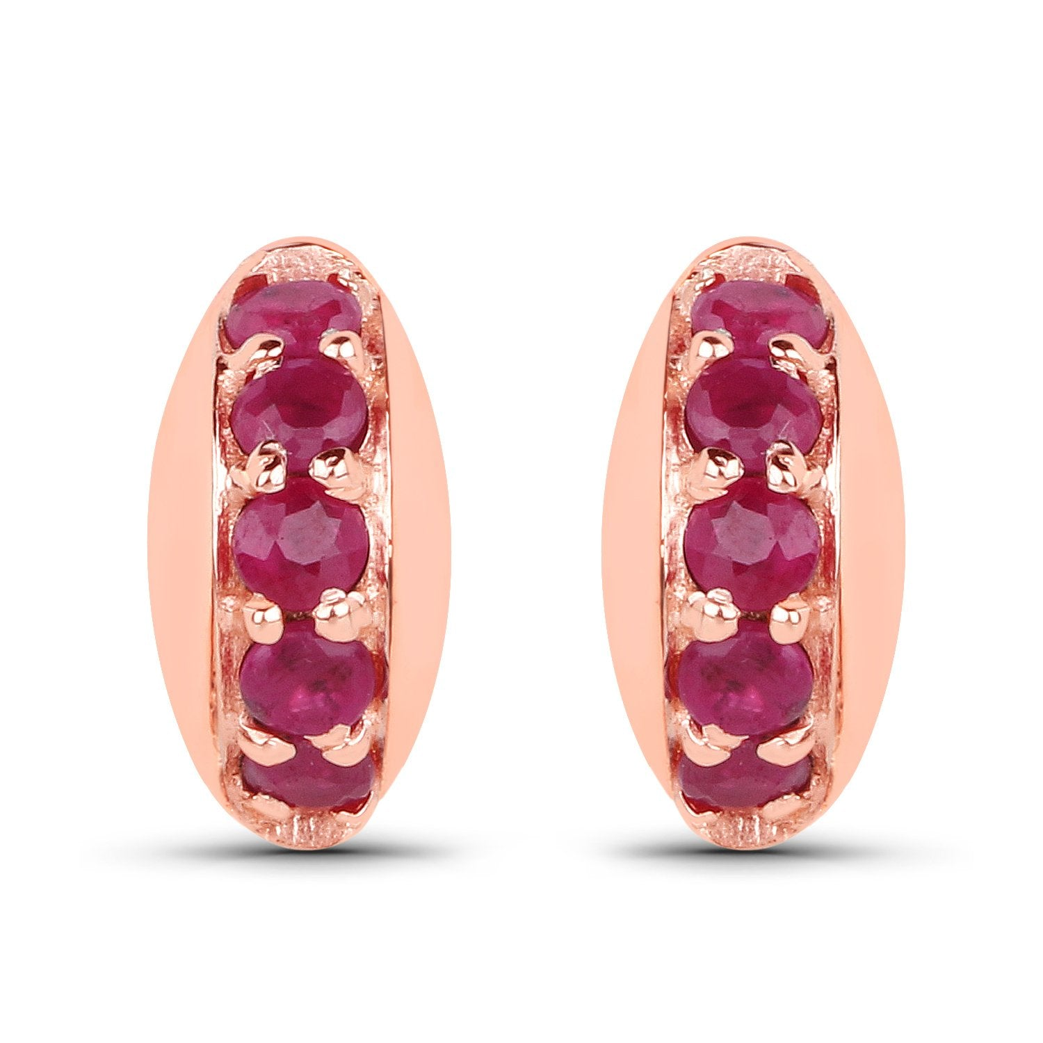 LoveHuang 0.45 Carats Genuine Ruby Stud Earrings Solid .925 Sterling Silver With 18KT Rose Gold Plating