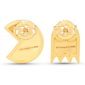LoveHuang 0.11 Carats Genuine Blue Sapphire Pacman Earrings Solid .925 Sterling Silver With 18KT Yellow Gold Plating, Matte Finish