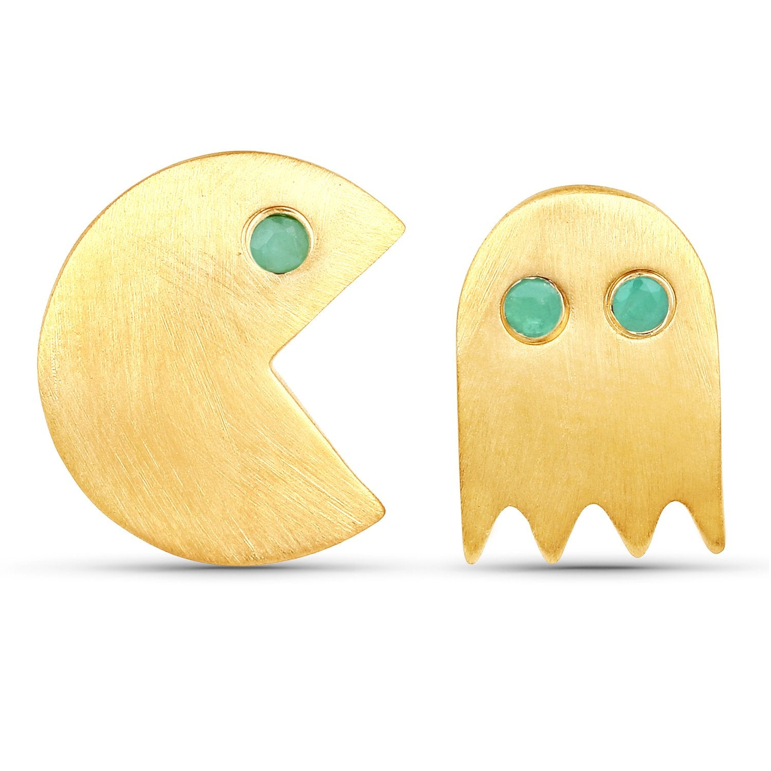LoveHuang 0.09 Carats Genuine Emerald Pacman Earrings Solid .925 Sterling Silver With 18KT Yellow Gold Plating, Matte Finish