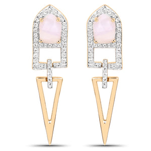 LoveHuang 1.35 Carats Genuine Pink Opal and White Topaz Art Deco Earrings Solid .925 Sterling Silver With 18KT Yellow Gold Plating