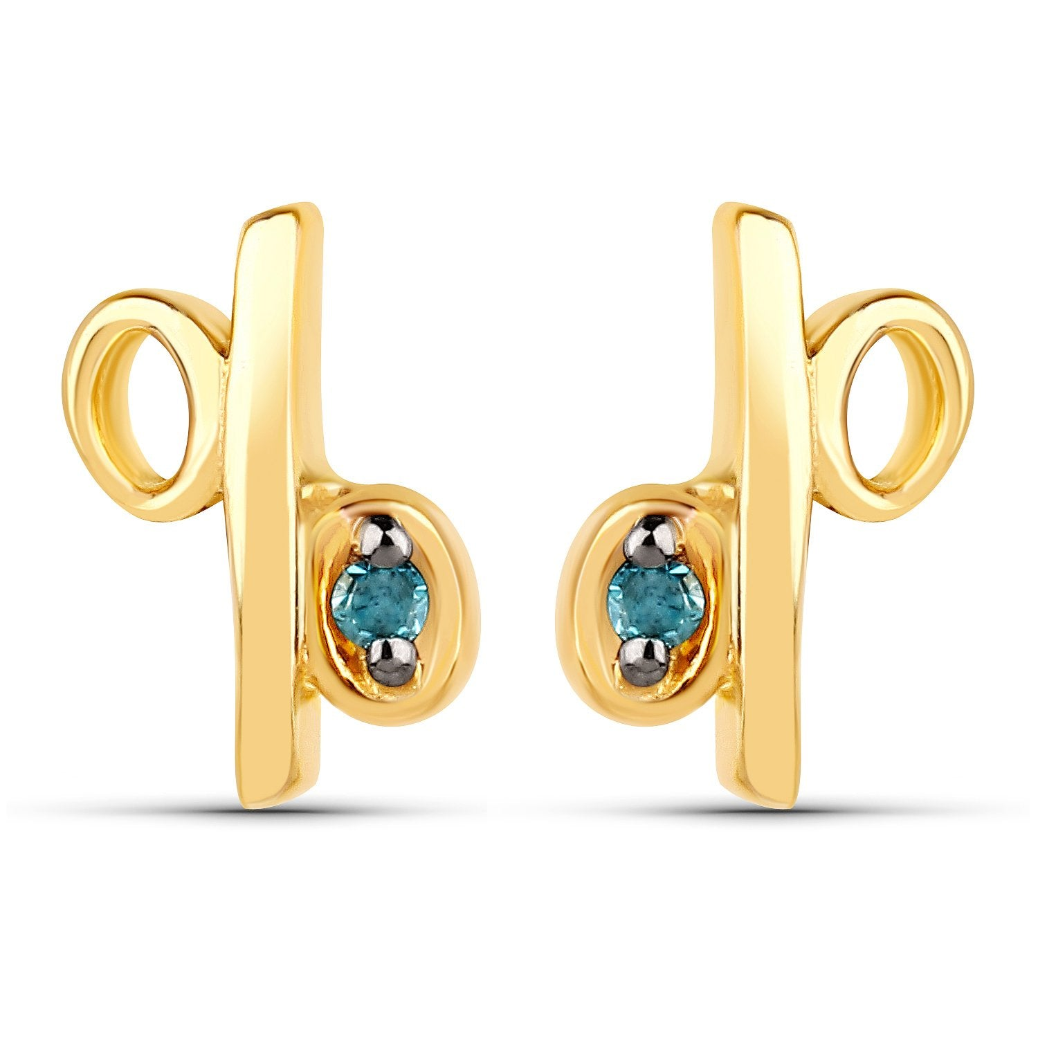 LoveHuang 0.01 Carats Genuine Blue Diamond (I-J, I2-I3) Percentage Earrings Solid .925 Sterling Silver With 18KT Yellow Gold Plating