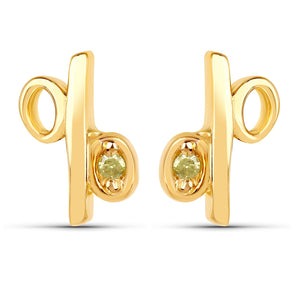 LoveHuang 0.01 Carats Genuine Yellow Diamond (I-J, I2-I3) Percentage Earrings Solid .925 Sterling Silver With 18KT Yellow Gold Plating