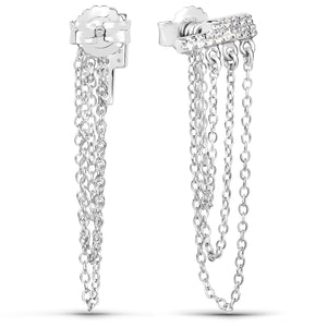 LoveHuang 0.19 Carats Genuine White Topaz Dangling Chain Earrings Solid .925 Sterling Silver With Rhodium Plating