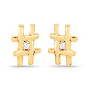 LoveHuang 0.01 Carats Genuine White Diamond (I-J, I2-I3) Hashtag Stud Earrings Solid .925 Sterling Silver With 18KT Yellow Gold Plating