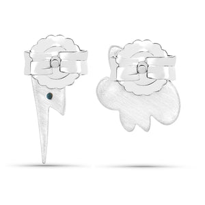 LoveHuang 0.01 Carats Genuine Blue Diamond (I-J, I2-I3) Cloud and Lighting Bolt Earrings Solid .925 Sterling Silver With Rhodium Plating