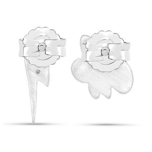 LoveHuang 0.01 Carats Genuine White Diamond (I-J, I2-I3) Cloud and Lighting Bolt Earrings Solid .925 Sterling Silver With Rhodium Plating