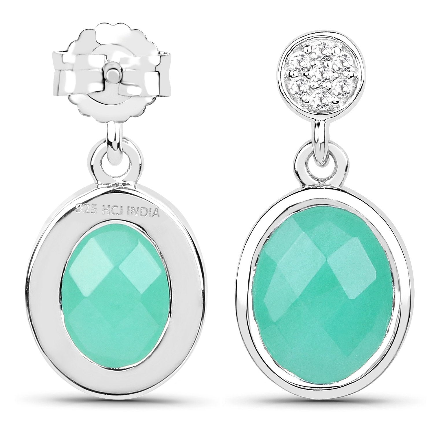 LoveHuang 4.28 Carats Genuine Emerald and White Topaz Dangle Earrings Solid .925 Sterling Silver With Rhodium Plating