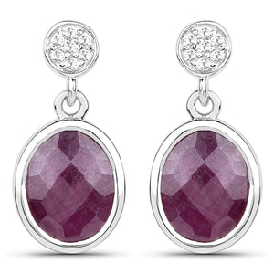 LoveHuang 5.65 Carats Genuine Ruby and White Topaz Dangle Earrings Solid .925 Sterling Silver With Rhodium Plating