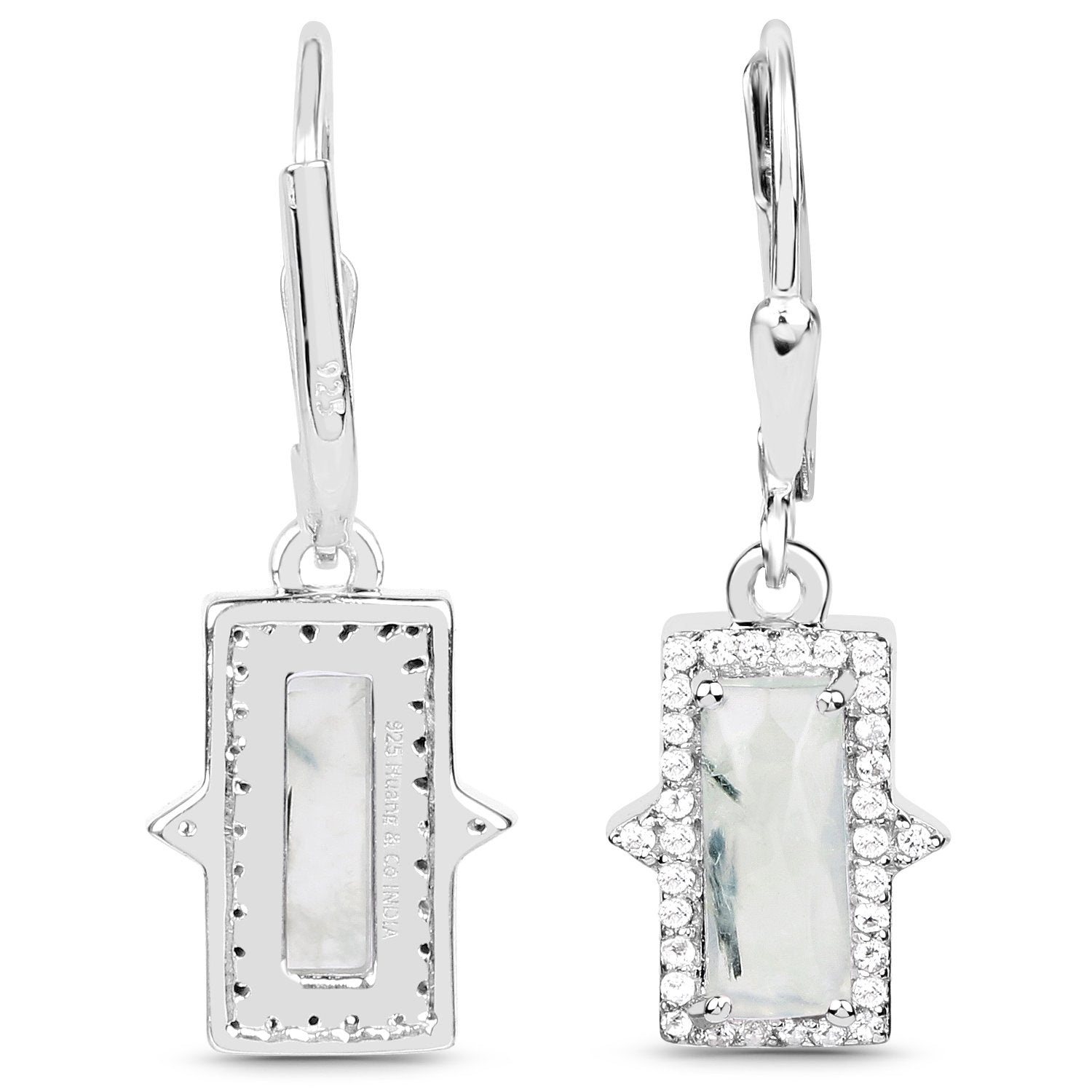 LoveHuang 3.20 Carats Genuine Prehnite and White Topaz Baguette Dangle Earrings Solid .925 Sterling Silver With Rhodium Plating