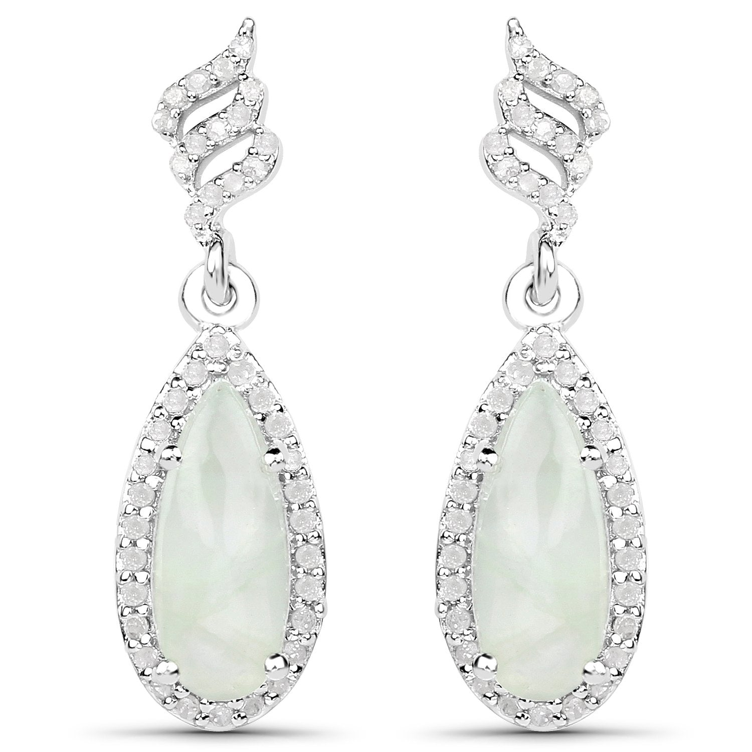 LoveHuang 2.93 Carats Genuine Prehnite and White Topaz Dangle Earrings Solid .925 Sterling Silver With Rhodium Plating