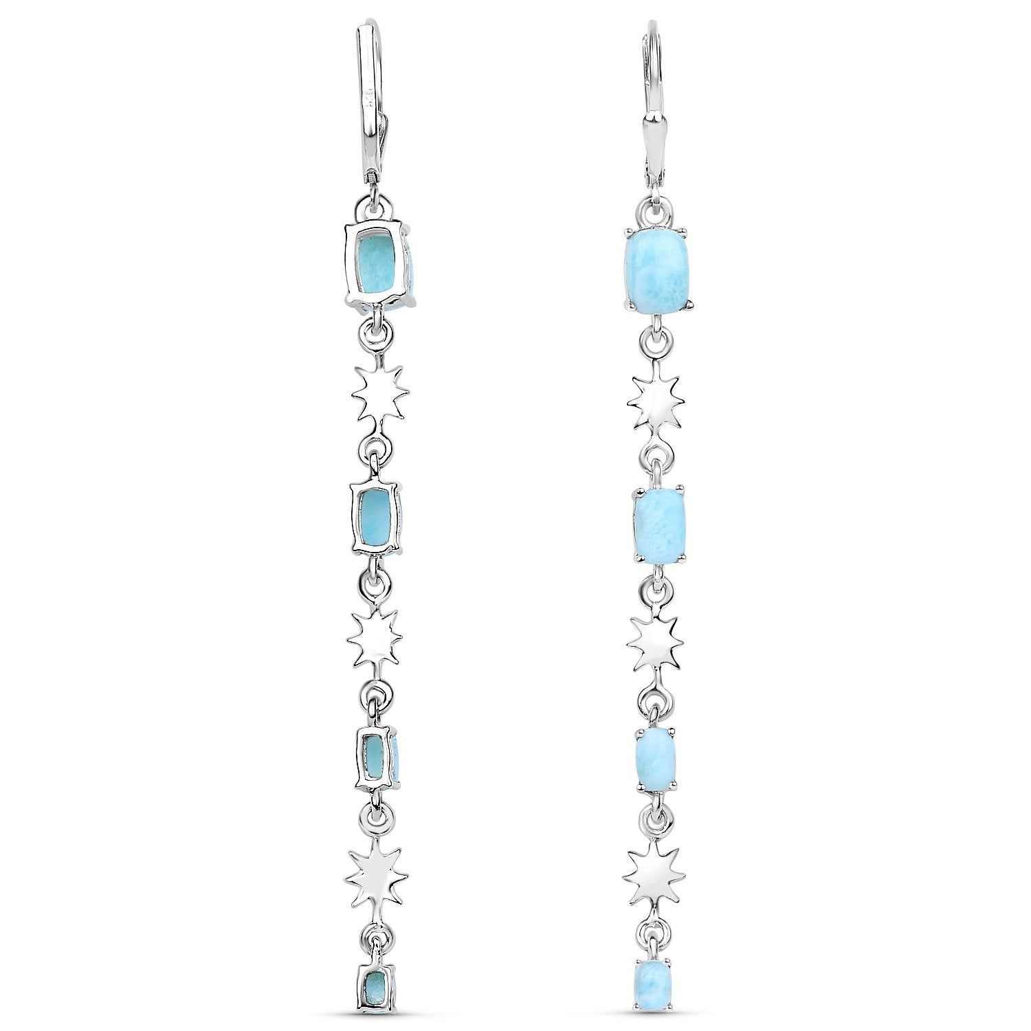 LoveHuang 3.87 Carats Genuine Larimar Dangle Earrings Solid .925 Sterling Silver With Rhodium Plating