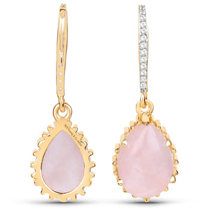 LoveHuang 10.90 Carats Genuine Rose Quartz and White Topaz Art Deco Earrings Solid .925 Sterling Silver With 18KT Yellow Gold Plating