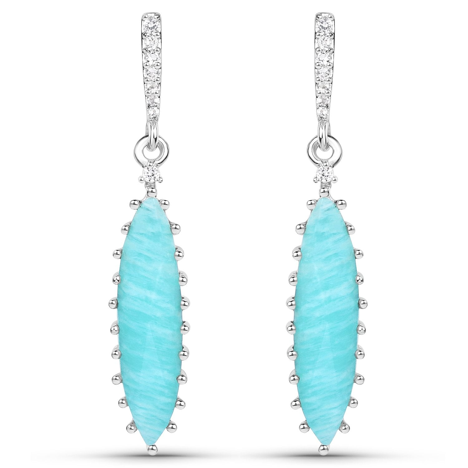 LoveHuang 6.41 Carats Genuine Amazonite and White Topaz Art Deco Earrings Solid .925 Sterling Silver With Rhodium Plating