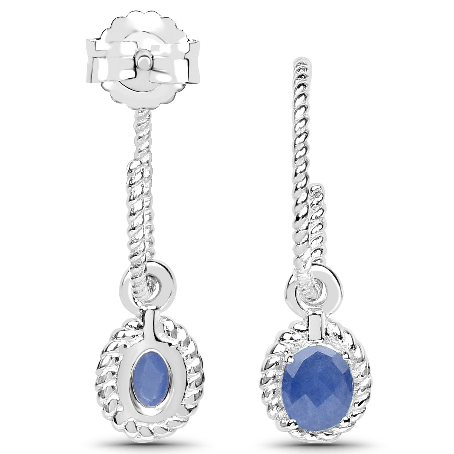 LoveHuang 0.62 Carats Genuine Blue Sapphire Dangle Earrings Solid .925 Sterling Silver With Rhodium Plating