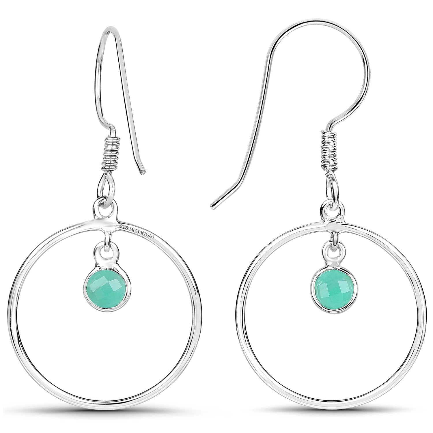 LoveHuang 0.44 Carats Genuine Emerald Minimalist Earrings Solid .925 Sterling Silver With Rhodium Plating