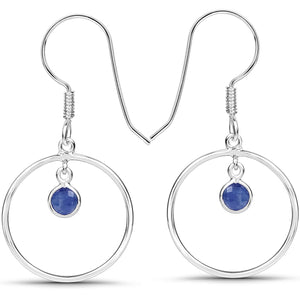 LoveHuang 0.72 Carats Genuine Blue Sapphire Minimalist Earrings Solid .925 Sterling Silver With Rhodium Plating