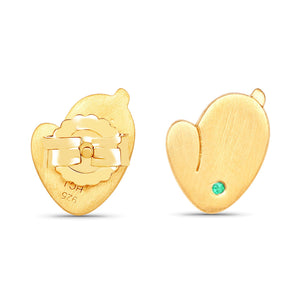 LoveHuang 0.01 Carats Genuine Zambian Emerald Bunny Earrings Solid .925 Sterling Silver With 18KT Yellow Gold Plating, Matte Finish