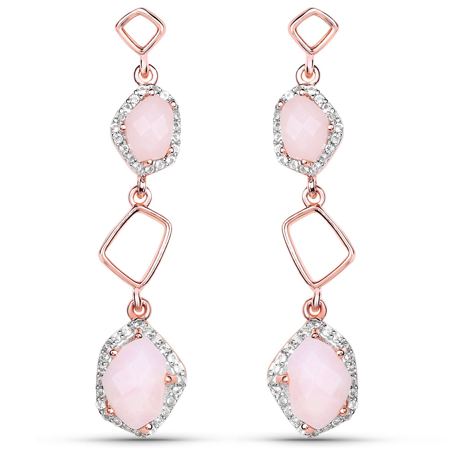 LoveHuang 2.82 Carats Genuine Pink Opal and White Topaz Dangle Earrings Solid .925 Sterling Silver With 18KT Rose Gold Plating