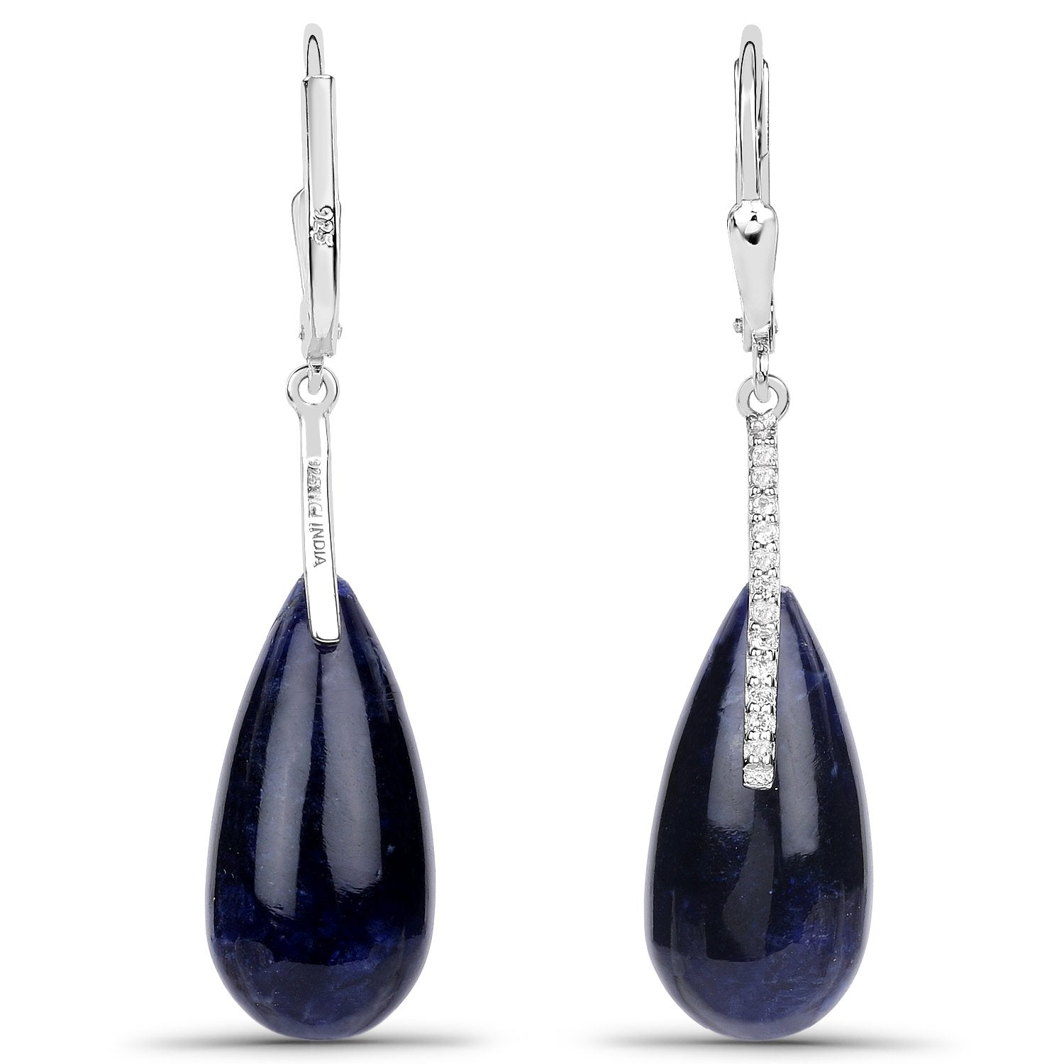 LoveHuang 21.06 Carats Genuine Blue Aventurine and White Topaz Drop Earrings Solid .925 Sterling Silver With Rhodium Plating