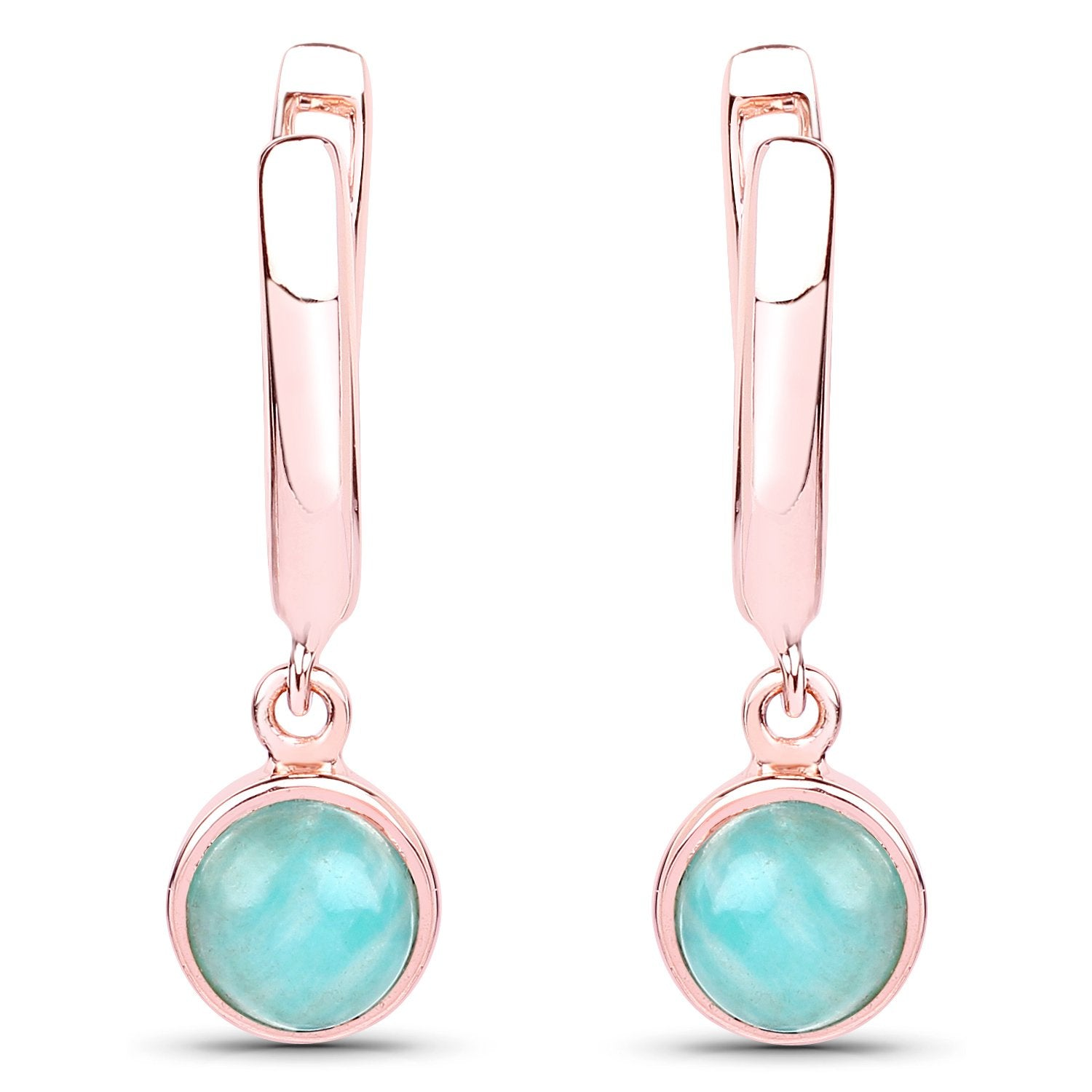 LoveHuang 1.98 Carats Genuine Amazonite Dangle Earrings Solid .925 Sterling Silver With 18KT Rose Gold Plating