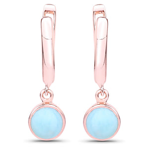 LoveHuang 2.34 Carats Genuine Larimar Dangle Earrings Solid .925 Sterling Silver With 18KT Rose Gold Plating