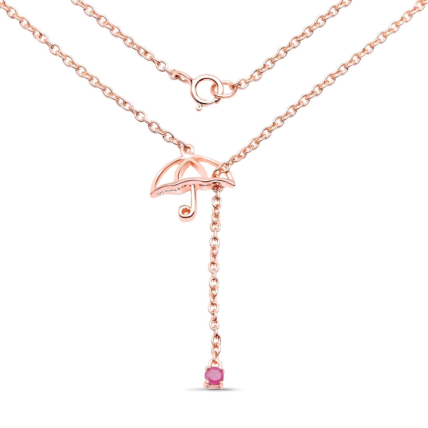 LoveHuang 0.08 Carats Genuine Ruby Umbrella Pendant Solid .925 Sterling Silver With 18KT Rose Gold Plating, 18Inch Chain