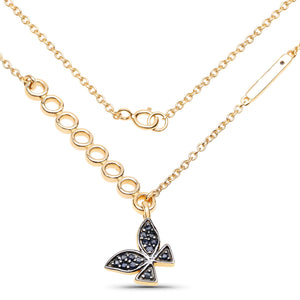 LoveHuang 0.27 Carats Genuine Blue Sapphire Butterfly Necklace Solid .925 Sterling Silver With 18KT Yellow Gold Plating, 18Inch Chain