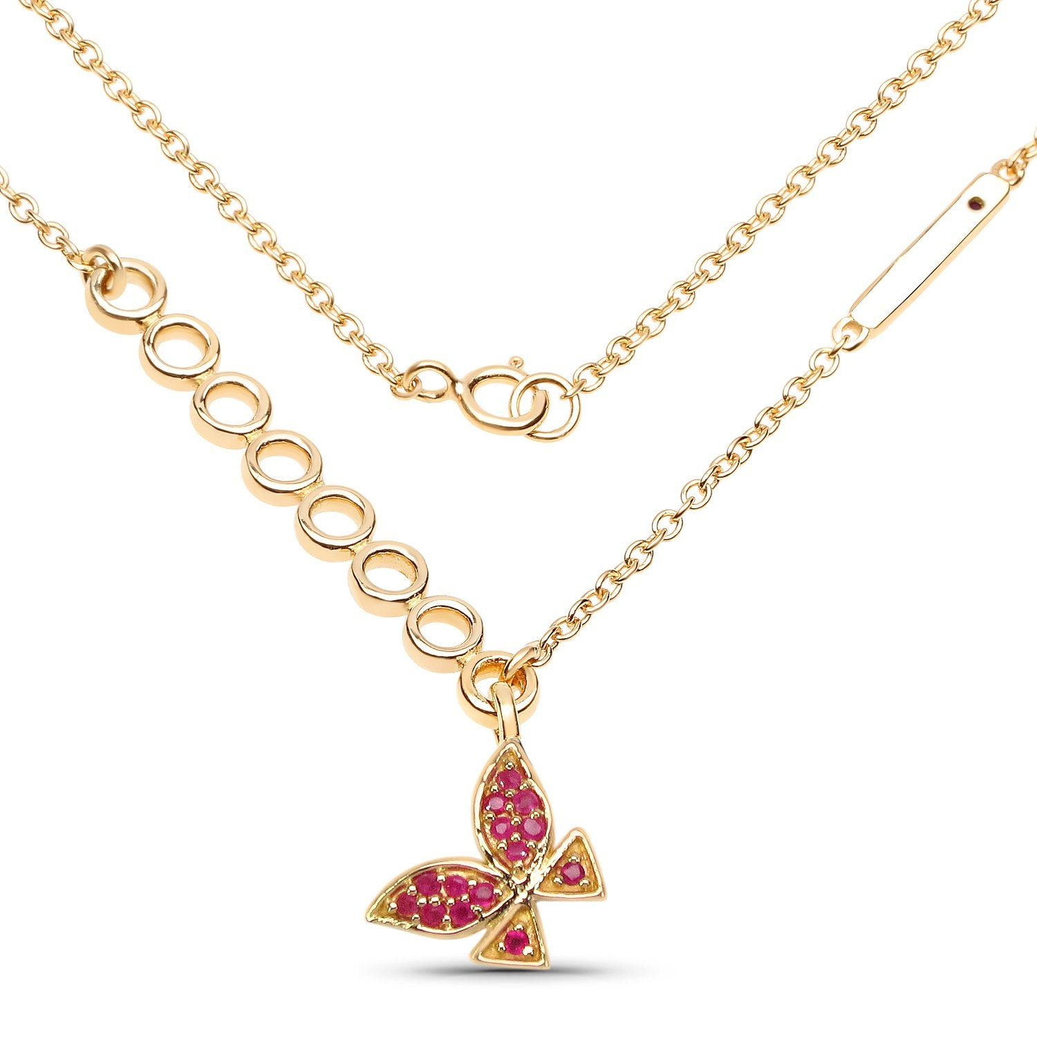 LoveHuang 0.27 Carats Genuine Ruby Butterfly Necklace Solid .925 Sterling Silver With 18KT Yellow Gold Plating, 18Inch Chain